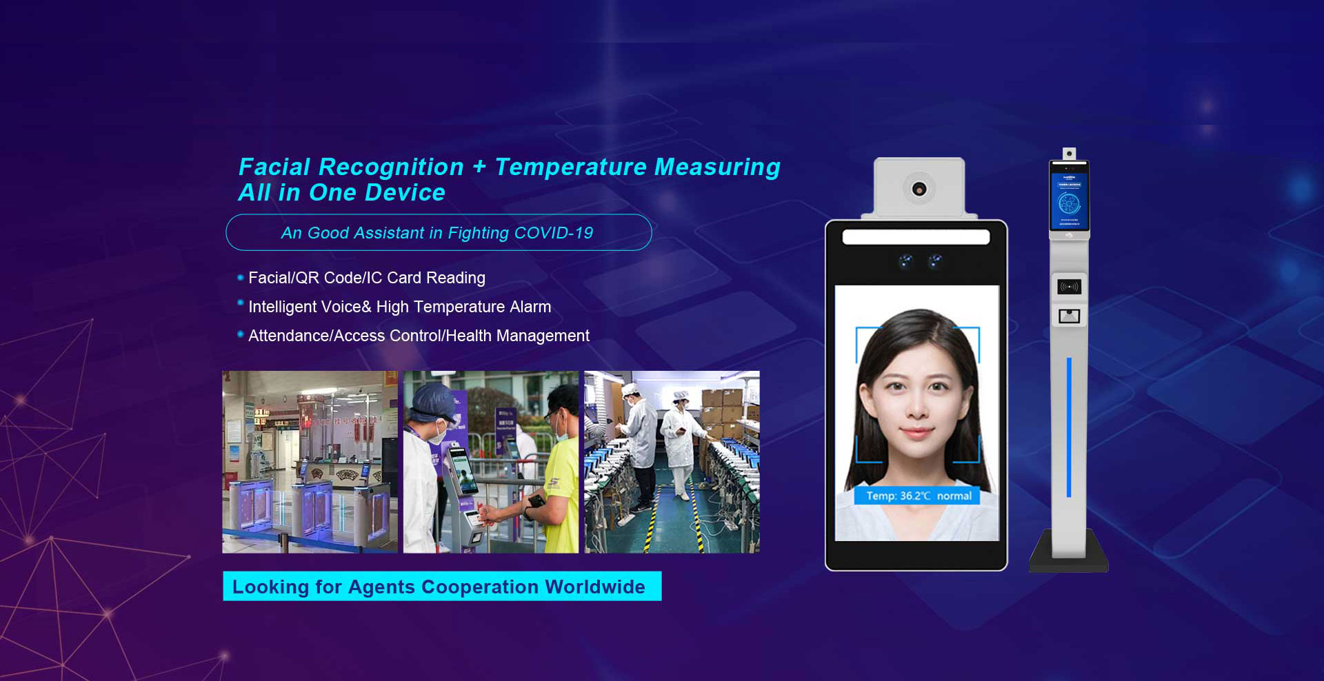 Face Recognition Thermal Imaging Temperature Measuring Device