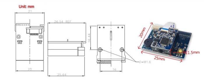 LV1400 1D Barcode Scanner Module