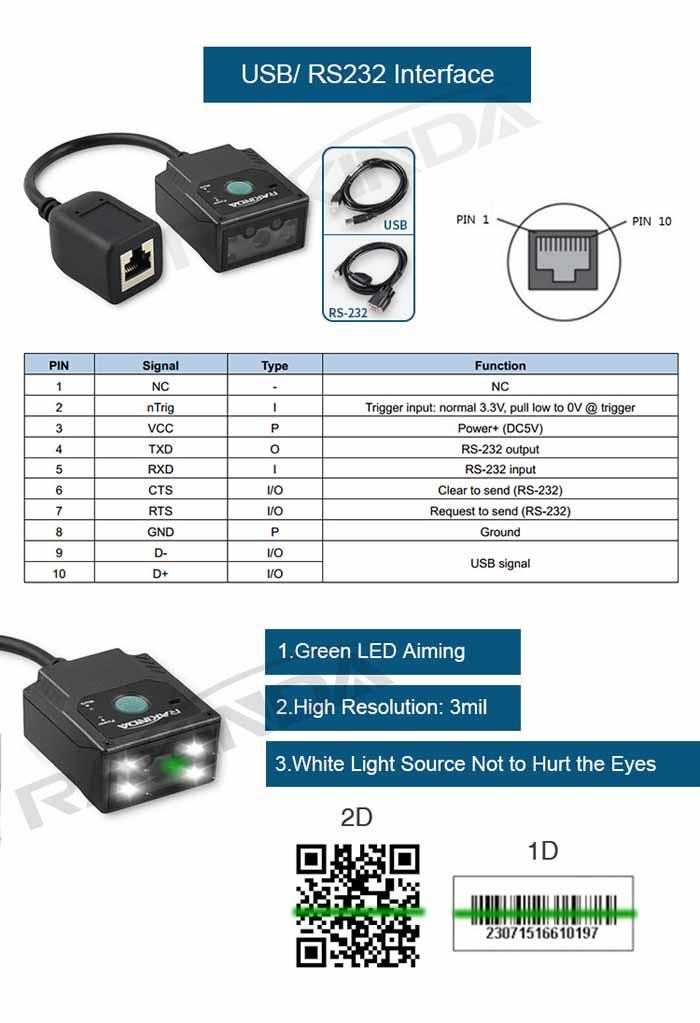 LV3000U Auto Scan 2D Barcode Scanner Reader Module