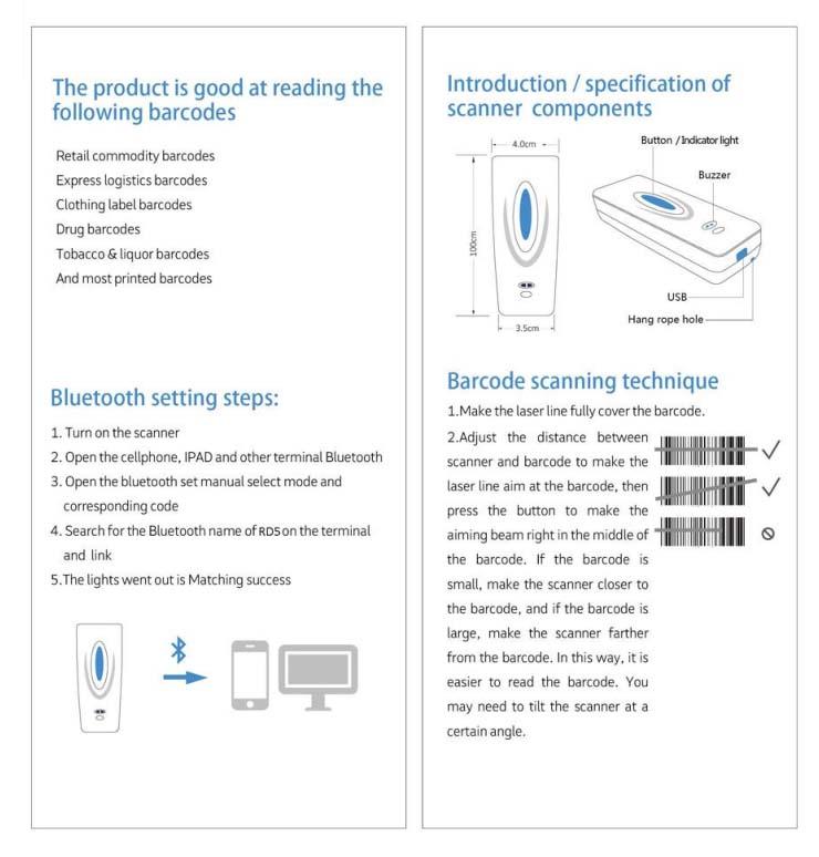 RD5 Bluetooth Wireless 2D Barcode Scanner Reader