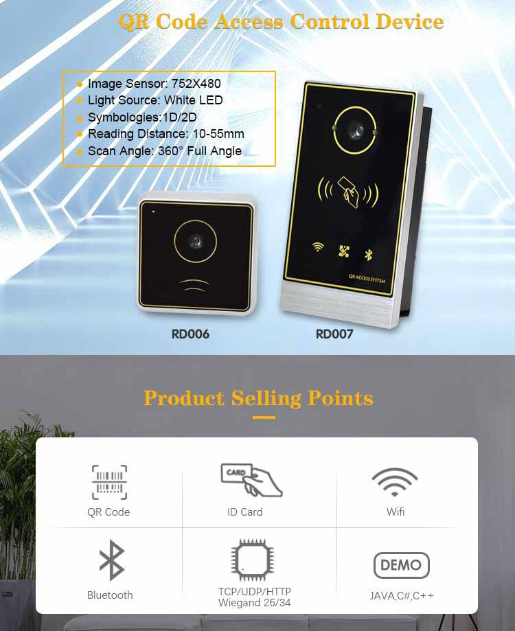 RD007 Barcode Scanner IC/RFID Card Reader for Access Control