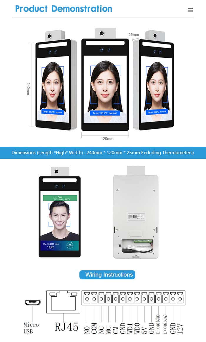 F2-H Face Recognition Infrared Temperature Measuring Device