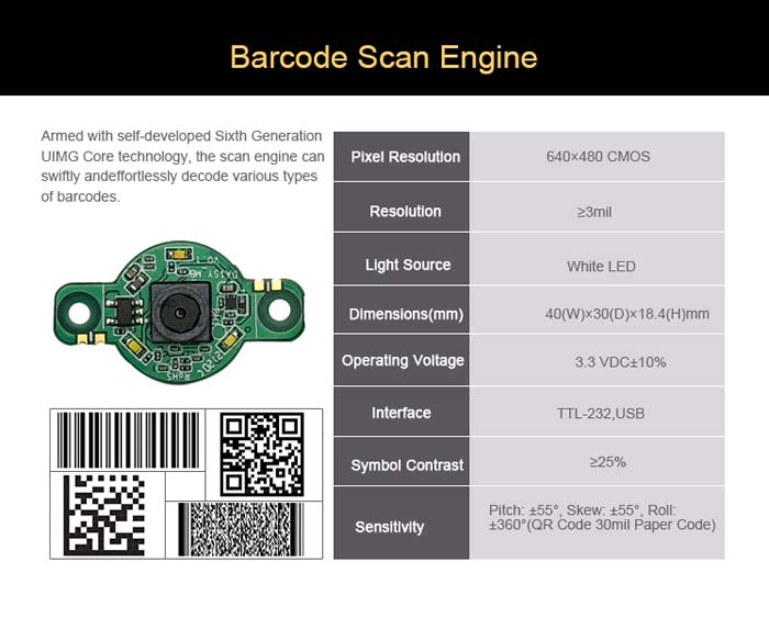 LV5300 Fixed Mount QR Barcode Scanner