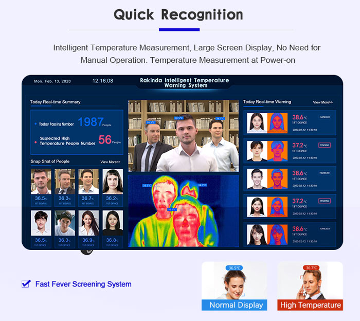 TM2 Multi-person Face Recognition Temperature Measurement System