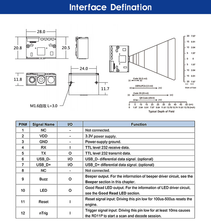 RD11P OEM Small Barcode Engine